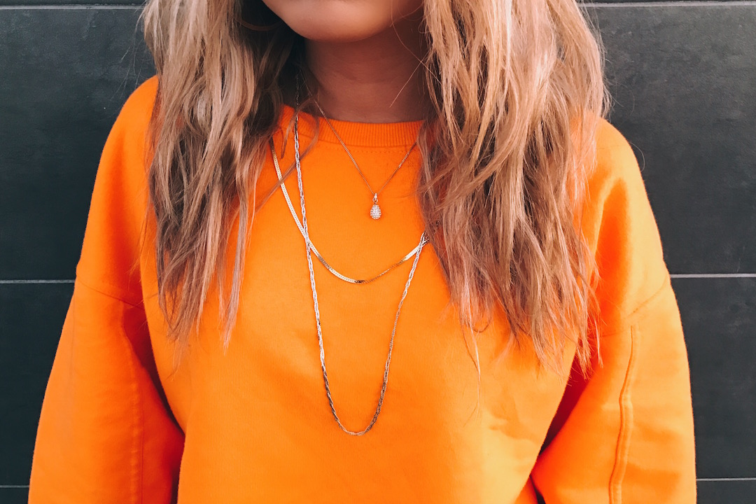 Orange necklace detail